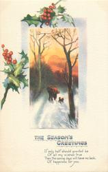THE SEASON'S GREETINGS  winter scene, two people & dog