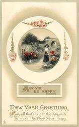 NEW YEAR GREETINGS, boxed MAY YOU BE HAPPY quote BROWNING  garden inset
