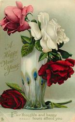A HAPPY NEW YEAR  red white & pink roses, green & white vase
