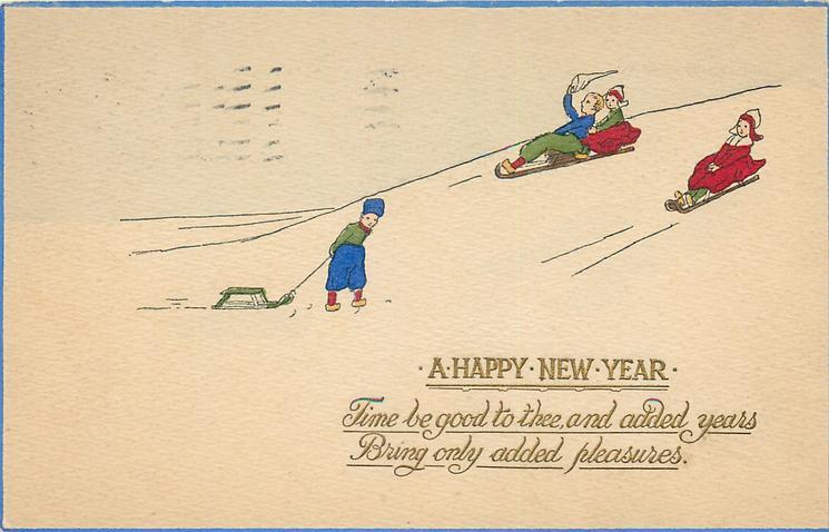 A HAPPY NEW YEAR  Dutch children toboggan