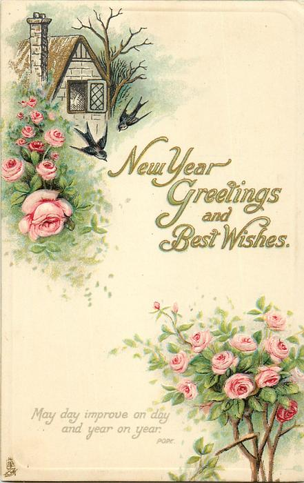 new year greetings and best wishes roses swallows