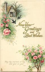 NEW YEAR GREETINGS AND BEST WISHES  roses, swallows