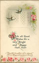 WITH ALL GOOD WISHES FOR A VERY BRIGHT AND HAPPY NEW YEAR  Swallows & roses