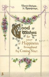GOOD WISHES FOR YOUR HAPPINESS THROUGHOUT THE COMING YEAR  pansies