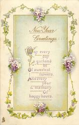 NEW YEAR GREETINGS  ivy floral garland
