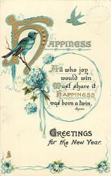GREETINGS FOR THE NEW YEAR, HAPPINESS  bluebirds, forget-me-nots