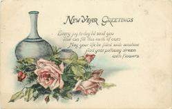 NEW YEAR GREETINGS  2 pots, pink roses
