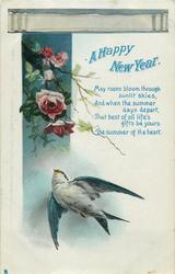 A HAPPY NEW YEAR  roses, swallow