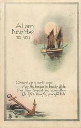 A HAPPY NEW YEAR TO YOU  two sailing boats, anchor