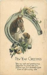 NEW YEAR GREETINGS  horse, dog, horse-shoe, flowers