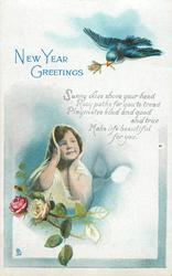 NEW YEAR GREETINGS  bird above, child & roses