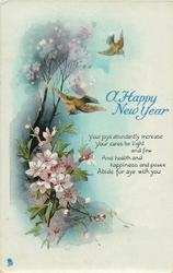 A HAPPY NEW YEAR  two birds & blossom