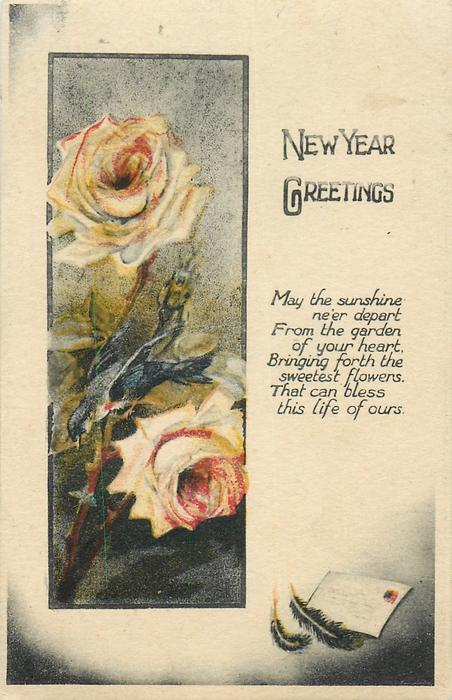 NEW YEAR GREETINGS  yellow roses, letter below