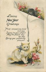 LOVING NEW YEAR GREETINGS  2 cats, roses
