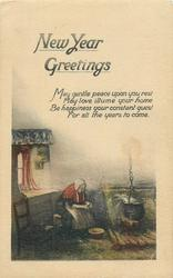 NEW YEAR GREETINGS  cottage scene, old woman cooks