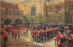 CHANGING GUARD AT ST. JAMES  many soldiers in forecourt