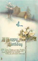 A HAPPY BIRTHDAY  rose, church, butterfly