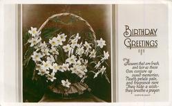 BIRTHDAY GREETINGS  basket of narcissi