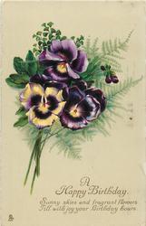A HAPPY BIRTHDAY  pansies left & maidenhair fern right *