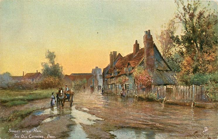 SUNSET AFTER RAIN, THE OLD COTTAGES, BRAY