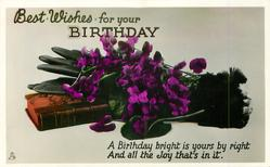 BEST WISHES FOR YOUR BIRTHDAY violets, gloves & book