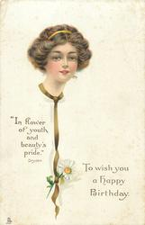 TO WISH YOU A HAPPY BIRTHDAY  pretty girl, daisy on ribbon