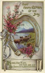 MANY HAPPY RETURNS OF THE DAY  highland cattle, heather, horseshoe