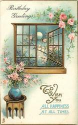 BIRTHDAY GREETINGS  flowers, two owls, open window