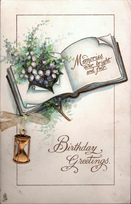 BIRTHDAY GREETINGS  purple heather bursting through page of open book