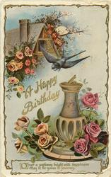 A HAPPY BIRTHDAY  swallow, cottage, sundial