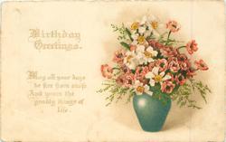 BIRTHDAY GREETINGS vase of anemones & narcissi