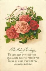 BIRTHDAY GREETING  basket of roses