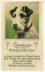 GREETINGS ON YOUR BIRTHDAY FATHER DEAR  terrier