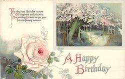 A HAPPY BIRTHDAY  rural scene, blossom, pink rose