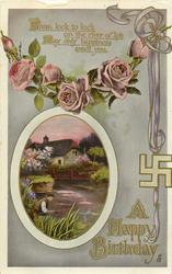 A HAPPY BIRTHDAY  rural insert, roses, swastika
