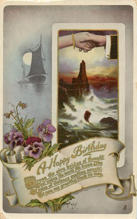 A HAPPY BIRTHDAY  lighthouse, pansies, clasped hands