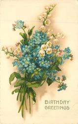 BIRTHDAY GREETINGS  blue forget-me-nots & white lilies of the valley