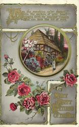 MANY HAPPY RETURNS OF THE DAY  roses, cottage in insert