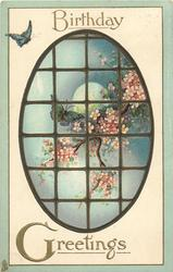 BIRTHDAY GREETINGS  oval leaded window, butterflies, moon, blossom