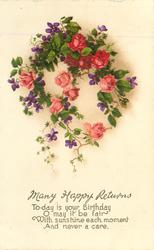 MANY HAPPY RETURNS TO-DAY IS YOUR BIRTHDAY  wreath of roses & violets