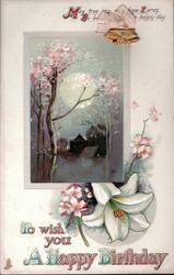 TO WISH YOU A HAPPY BIRTHDAY  moonlit scene, blossom, lily