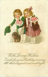 WITH LOVING WISHES  two children & dachshund