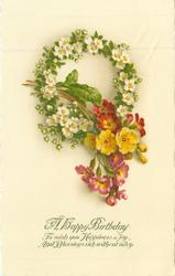 A HAPPY BIRTHDAY  primrose wreath & polyanthus