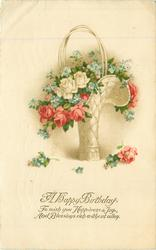 A HAPPY BIRTHDAY  basket of roses & forget-me-nots