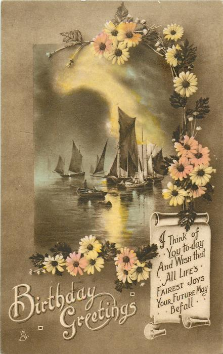 BIRTHDAY GREETINGS  ships, daisies