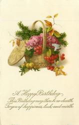 A HAPPY BIRTHDAY    basket of purple chrysanthemums, berries & evergreen