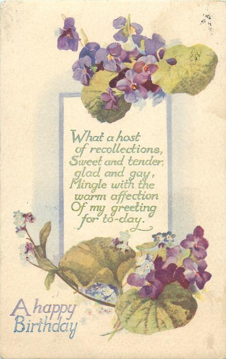 A HAPPY BIRTHDAY  violets, forget-me-nots