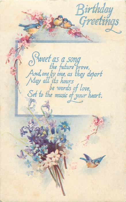 BIRTHDAY GREETINGS  blue-tits, flowers