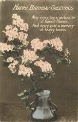 HAPPY BIRTHDAY GREETINGS  blossom spray in vase
