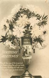 BIRTHDAY GREETINGS  chrysanthemums in vase